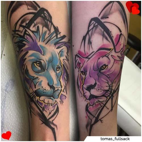 tatuaje de pareja de leones
