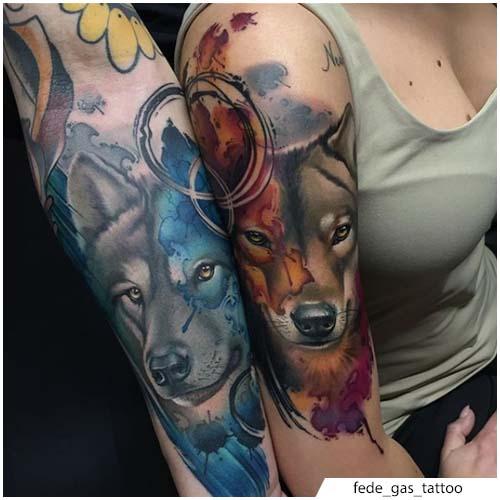 tatuaggio lupo di coppia