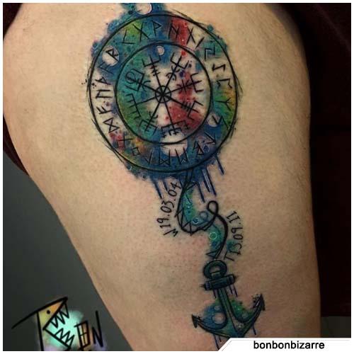 tattoo bussola vichinga con ancora