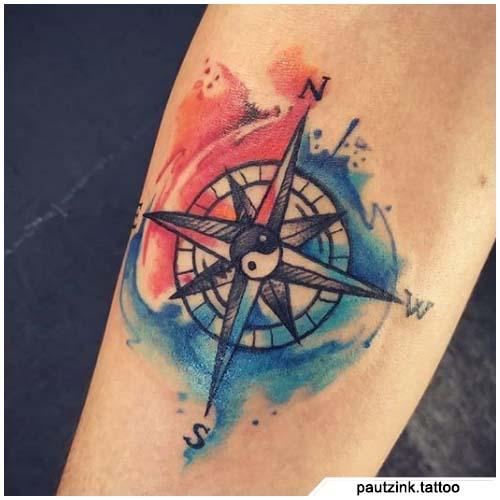 tattoo bussola yin yang