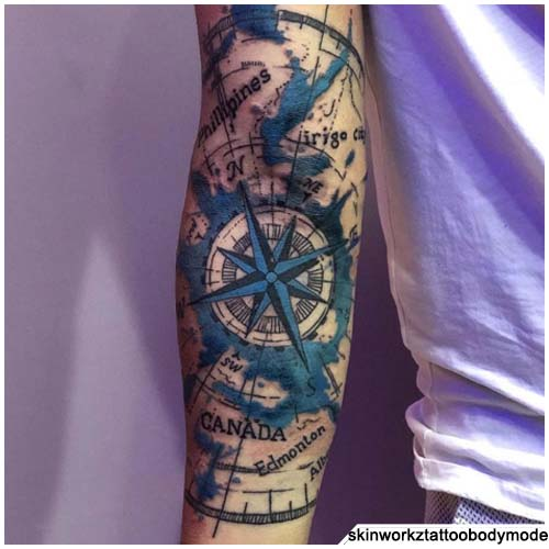 tattoo bussola punte d'azzurro