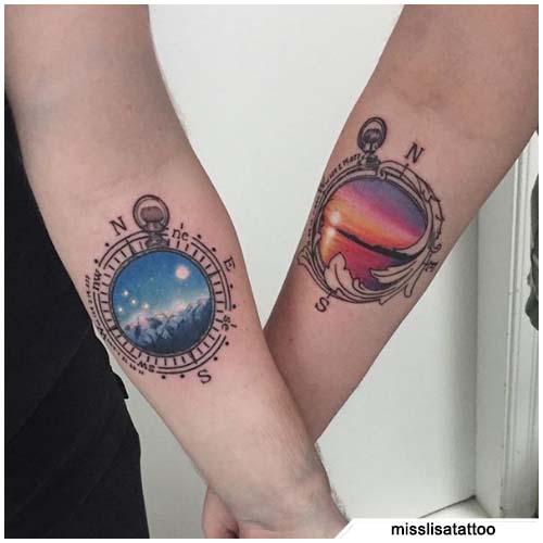 tattoo bussola coppia dettagliato