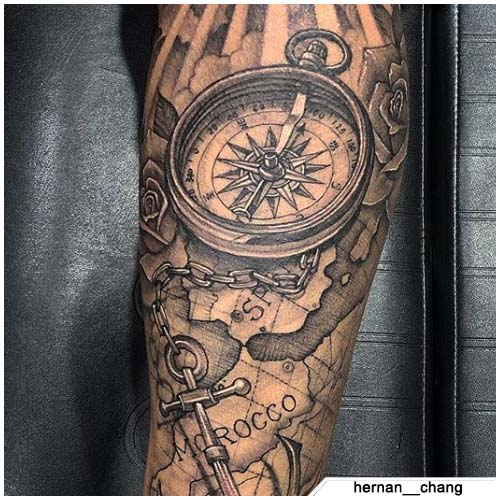 tattoo bussola mappa marocco