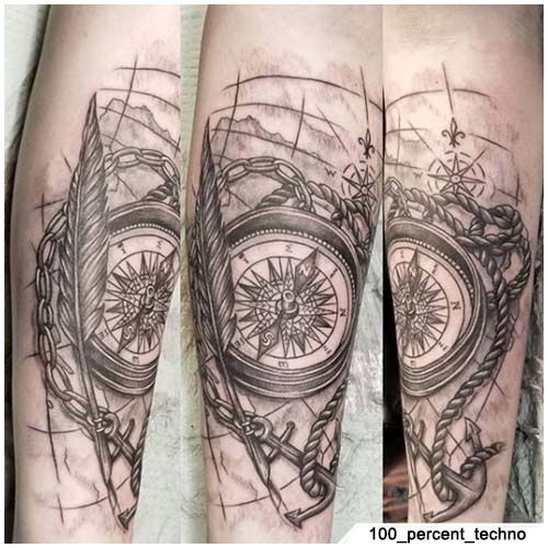 bussola tattoo figurativo
