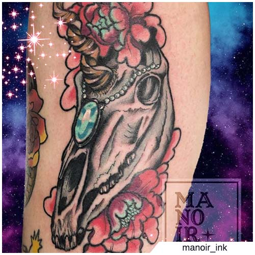 teschio unicorno tattoo