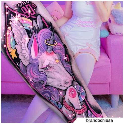 tatuaje de unicornio brando church