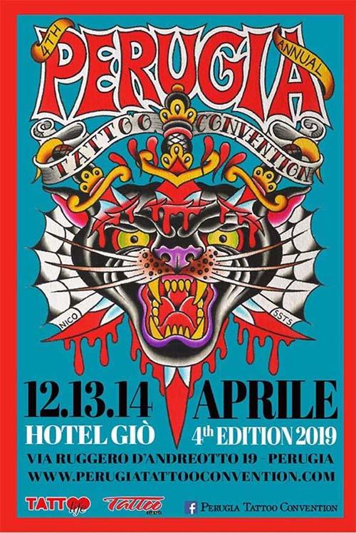 Locandina ufficiale Perugia Tattoo Convention 2019