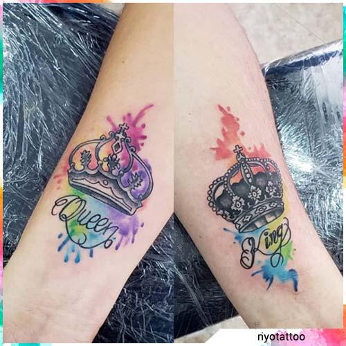 tatuaggio coppia watercolor
