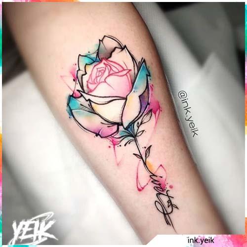 rosa watercolor azzurro e rosa
