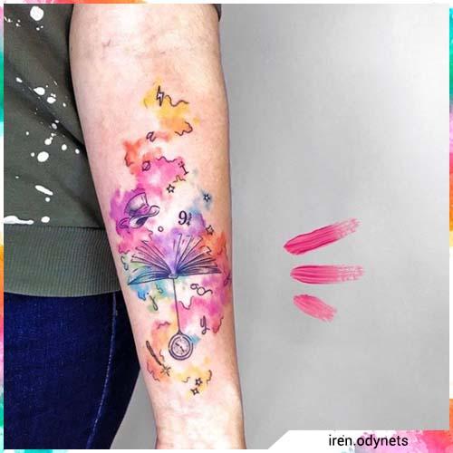 watercolor tattoo alice nel paese delle meraviglie