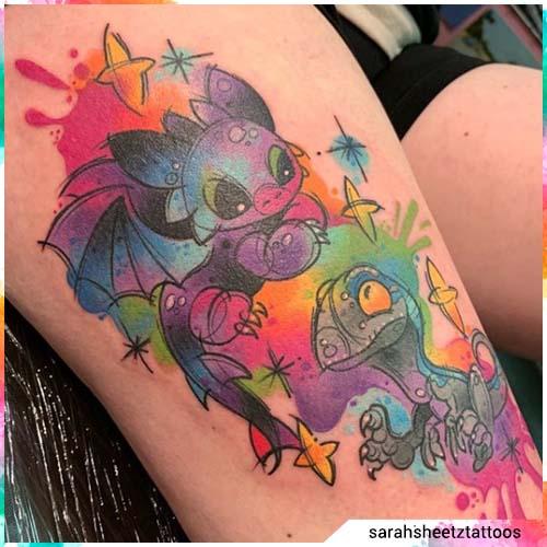 tatuaje de acuarela kawaii