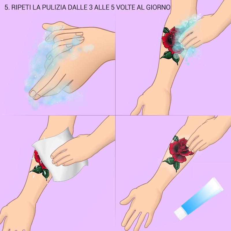cura del tatuaggio - ripeti la pulizia