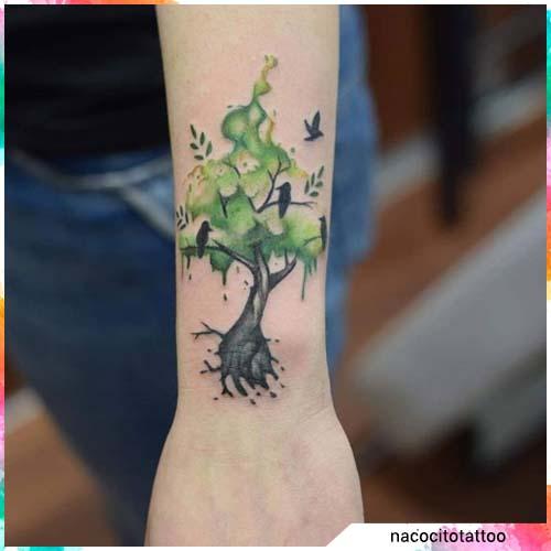 albero watercolor verde