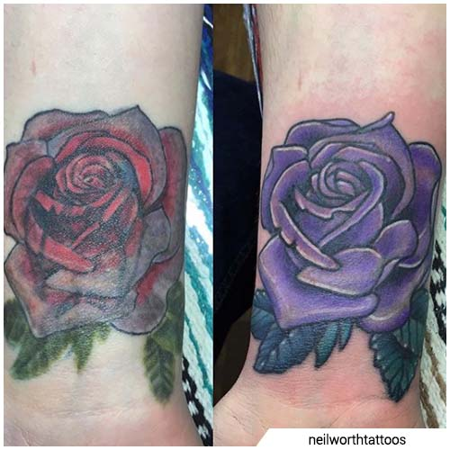 rosa púrpura cover up tattoo