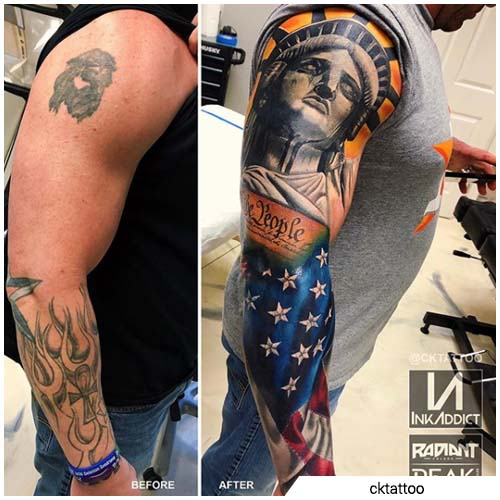estatua de la libertad cover up tattoo