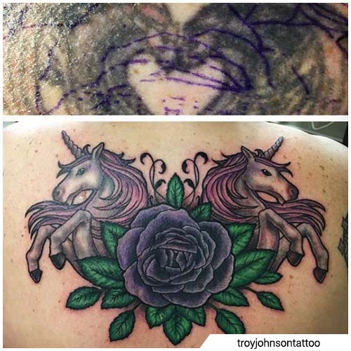 cover up tattoo unicorni