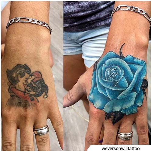 rosa azul cover up tattoo