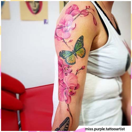 orchidee e farfalle tattoo