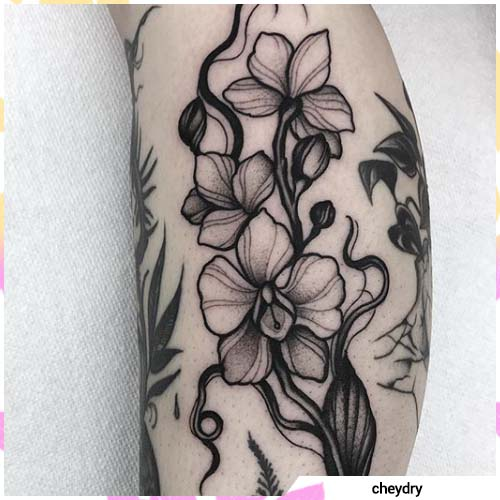 tatuaggio orchidea blackwork