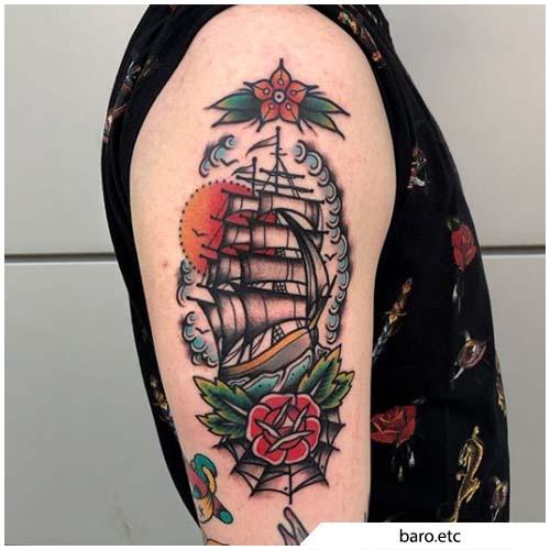 tatuaggio veliero ragnatela