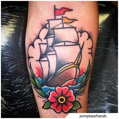 tatuaggio veliero traditional