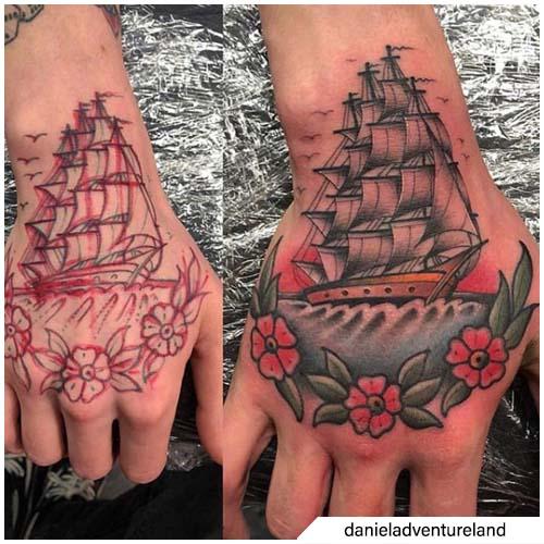 tatuaggio veliero mano