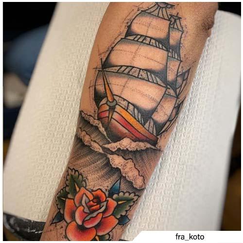 tatuaggio veliero sketch