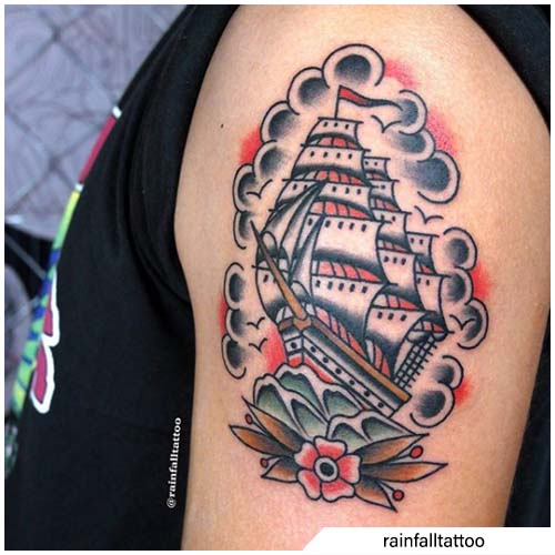 tatuaggio veliero old school
