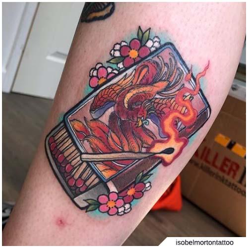 tattoo fenice fiammiferi