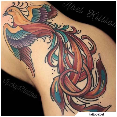 tattoo fenice fianco