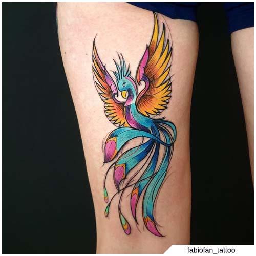 tattoo fenice coscia