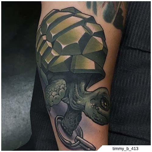 tatuaje de la escuela de tortugas