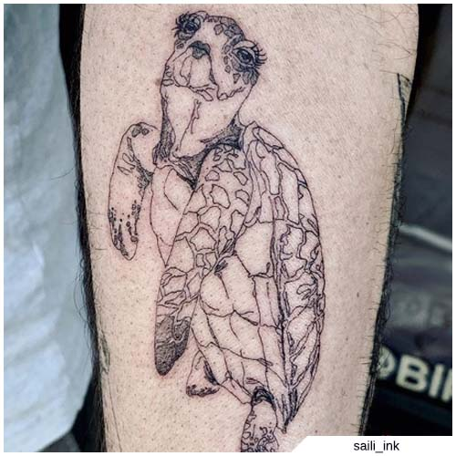 línea de tatuaje de tortuga solamente