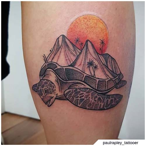 tatuaggio tartaruga montagne