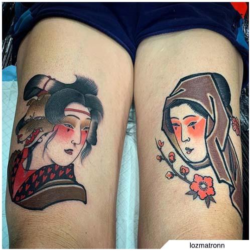 geisha tatuaje muslos