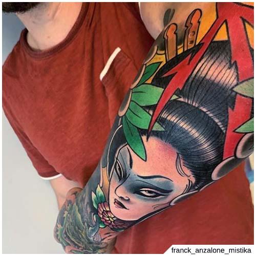 tatuaje de brazo de geisha