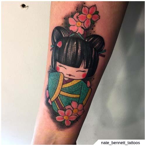 tatuaje de geisha kawaii