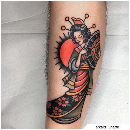tatuaje de geisha de la vieja escuela