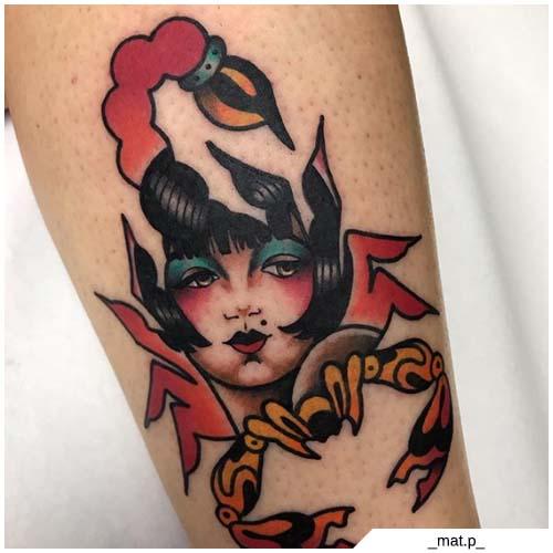 tatuaje de dibujos animados de escorpión