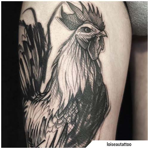 dibujo de tatuaje de gallo blackwork