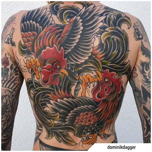 tatuaggi galli che combattono
