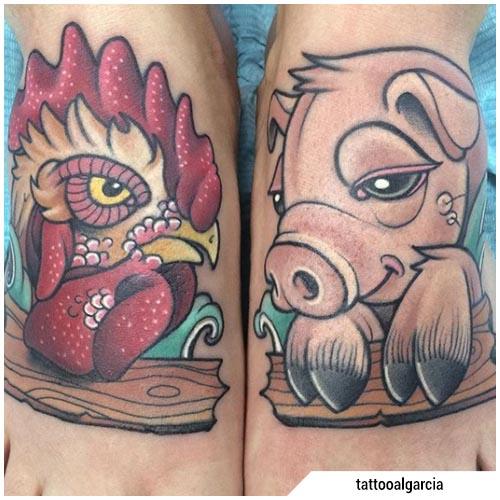 tatuaggio gallo maiale