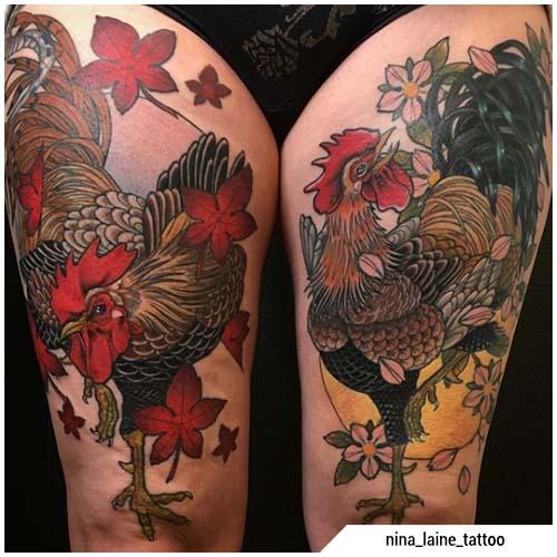 tatuaggio gallo cosce