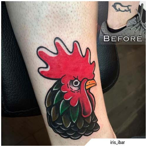 tatuaggio gallo cover up