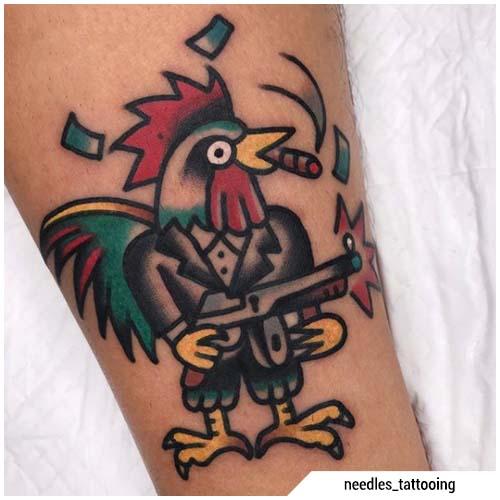tatuaggio gallo gangster