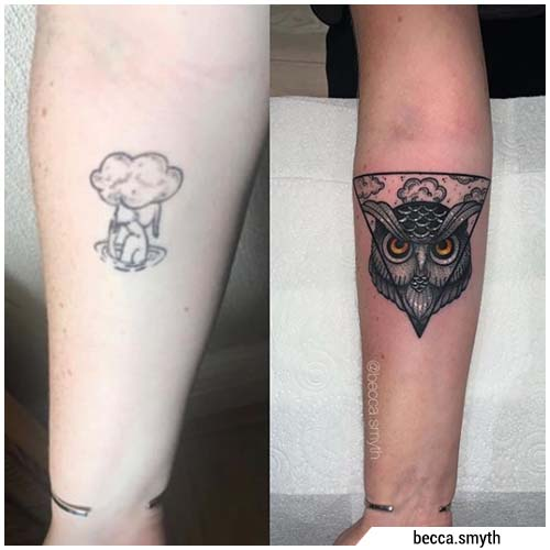 tatuaggio gufo cover up