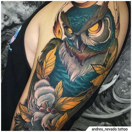 tatuaggio gufo neo traditional