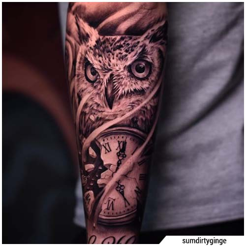 tatuaje de buho de garganta