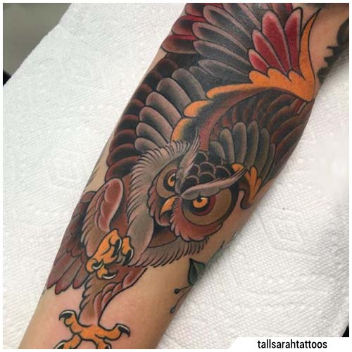 tatuaggio gufo new school
