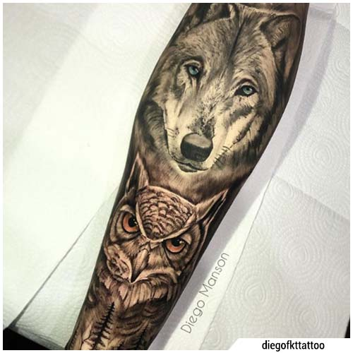 tatuaje de búho lobo